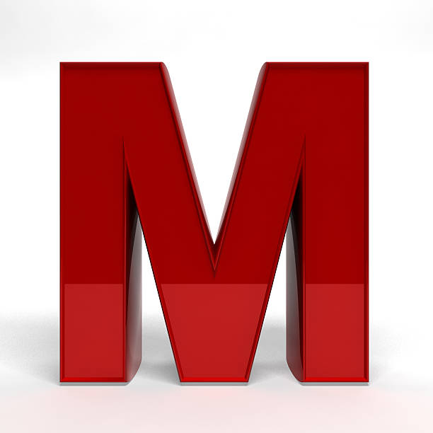 Red letter M stock photo
