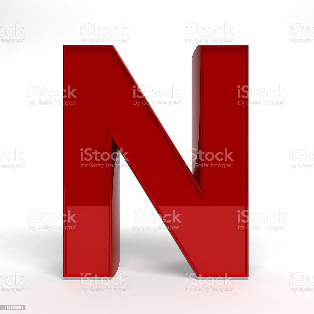 Red letter N stock photo