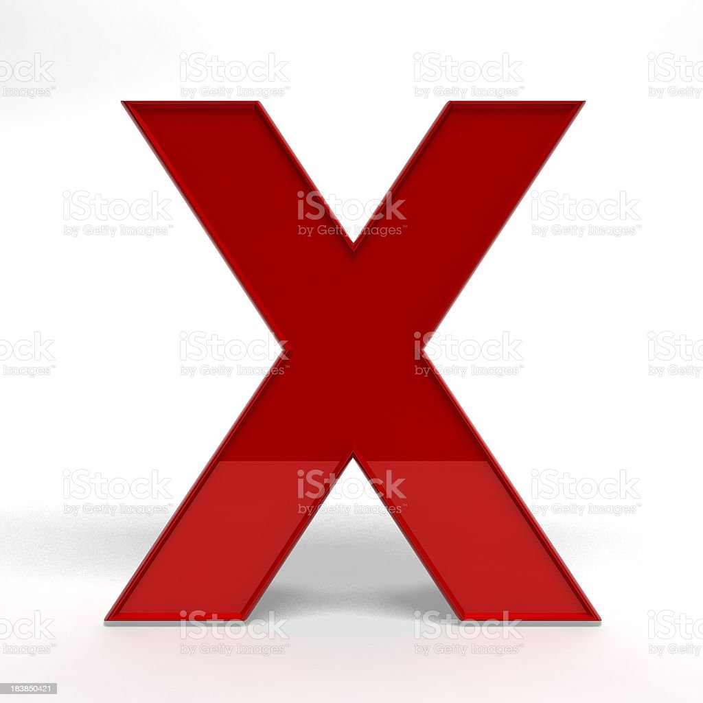 Red letter X royalty-free stock photo