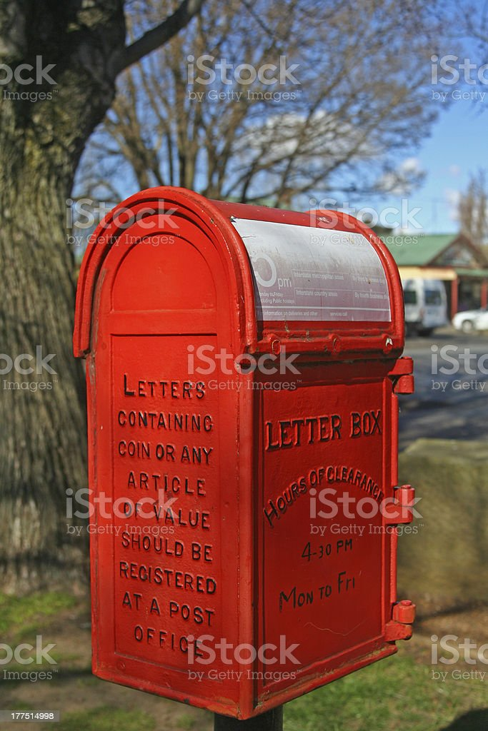Red letterbox stock photo