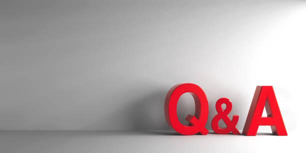 letras vermelhas q & a - dia do cliente - fotografias e filmes do acervo