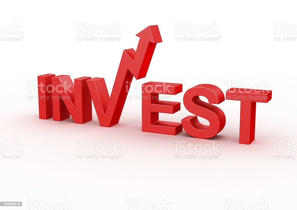 Red letters that says INVEST with an arrow on V on white royalty-free stock photo