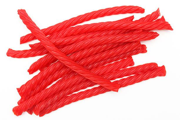 rosso caramella di liquirizia - liquirizia foto e immagini stock