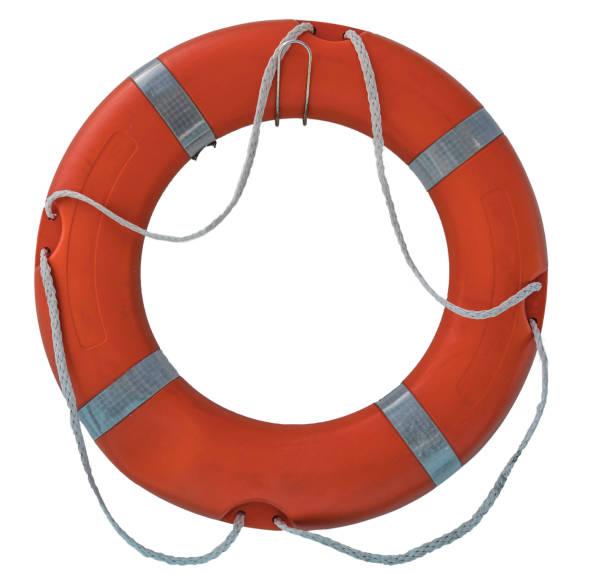 roten rettungsring isoliert auf weißem hintergrund. - wasser sicherheitsausrüstung stock-fotos und bilder