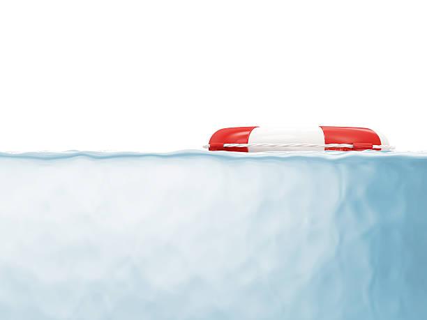 red lifebelt in wasser mit platz für ihren text - wasser sicherheitsausrüstung stock-fotos und bilder