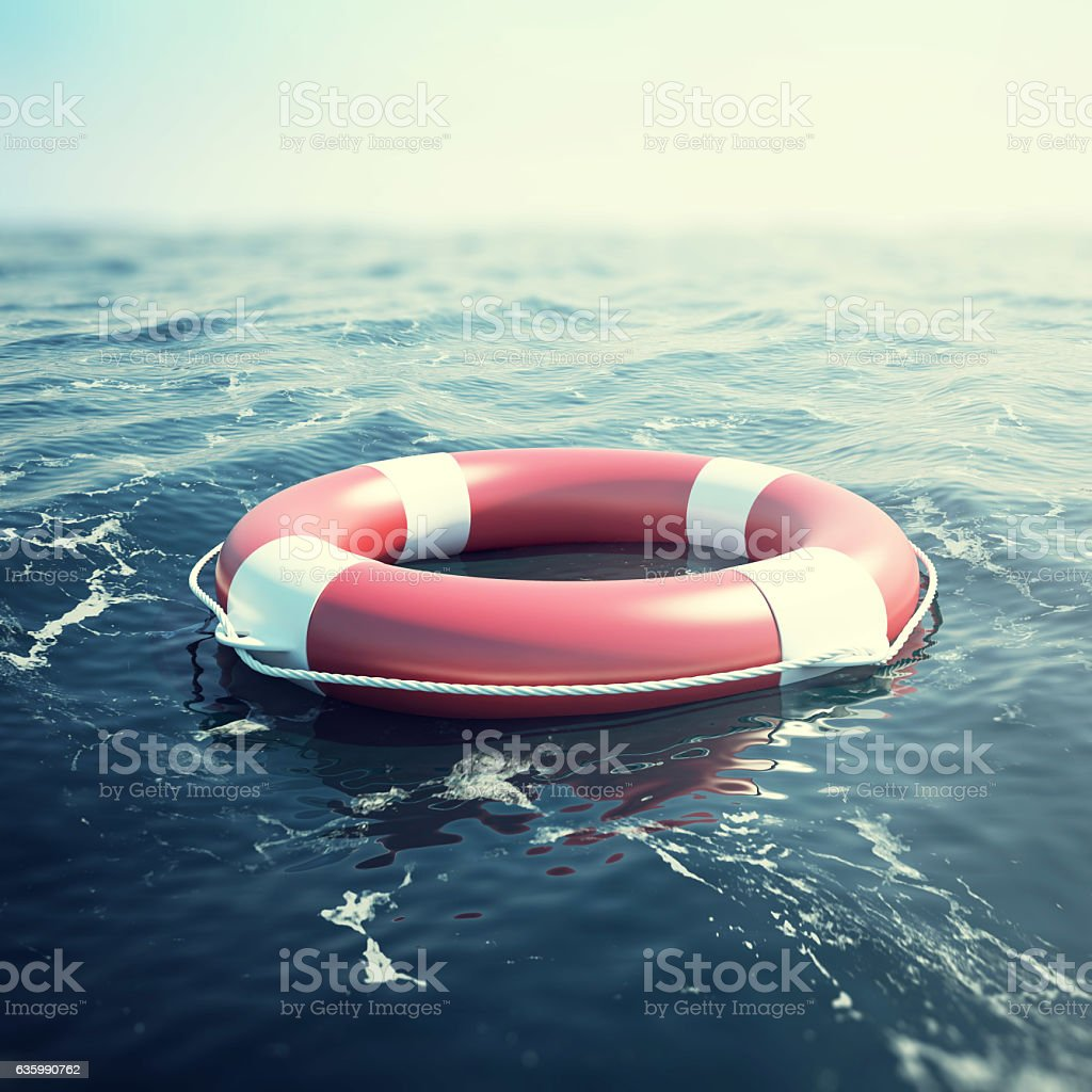 Red lifebuoy floating in the sea. 3d illustration stock photo