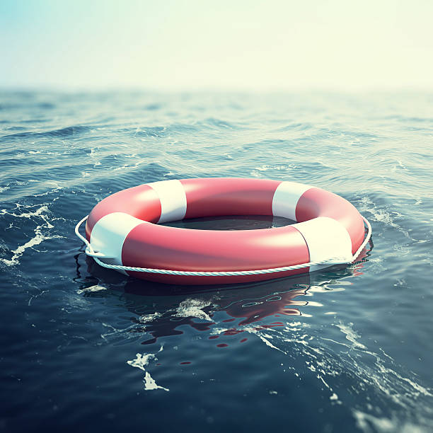 red lifebuoy floating in the sea. 3d illustration - boje stock-fotos und bilder