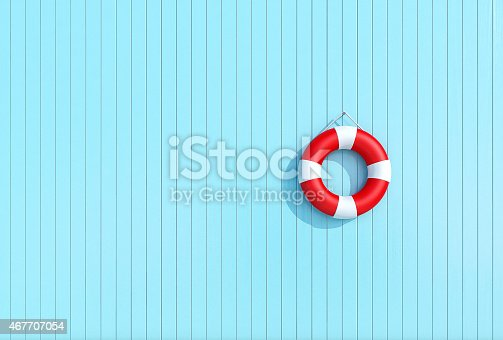 istock Red lifebuoy in a old grunge wooden plank wall of blue 467707054