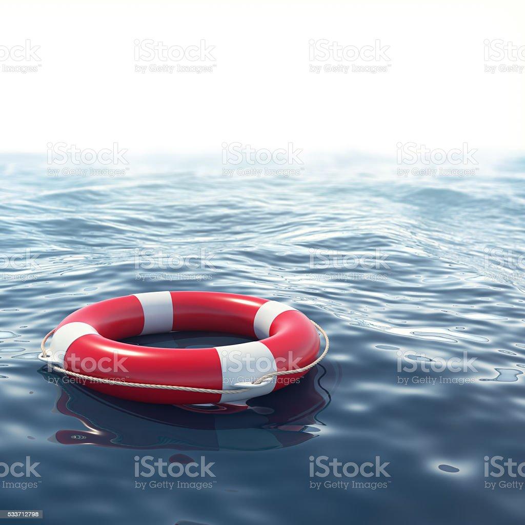 boya salvavidas rojo de mar azul con profundidad de efecto de campo - foto de stock