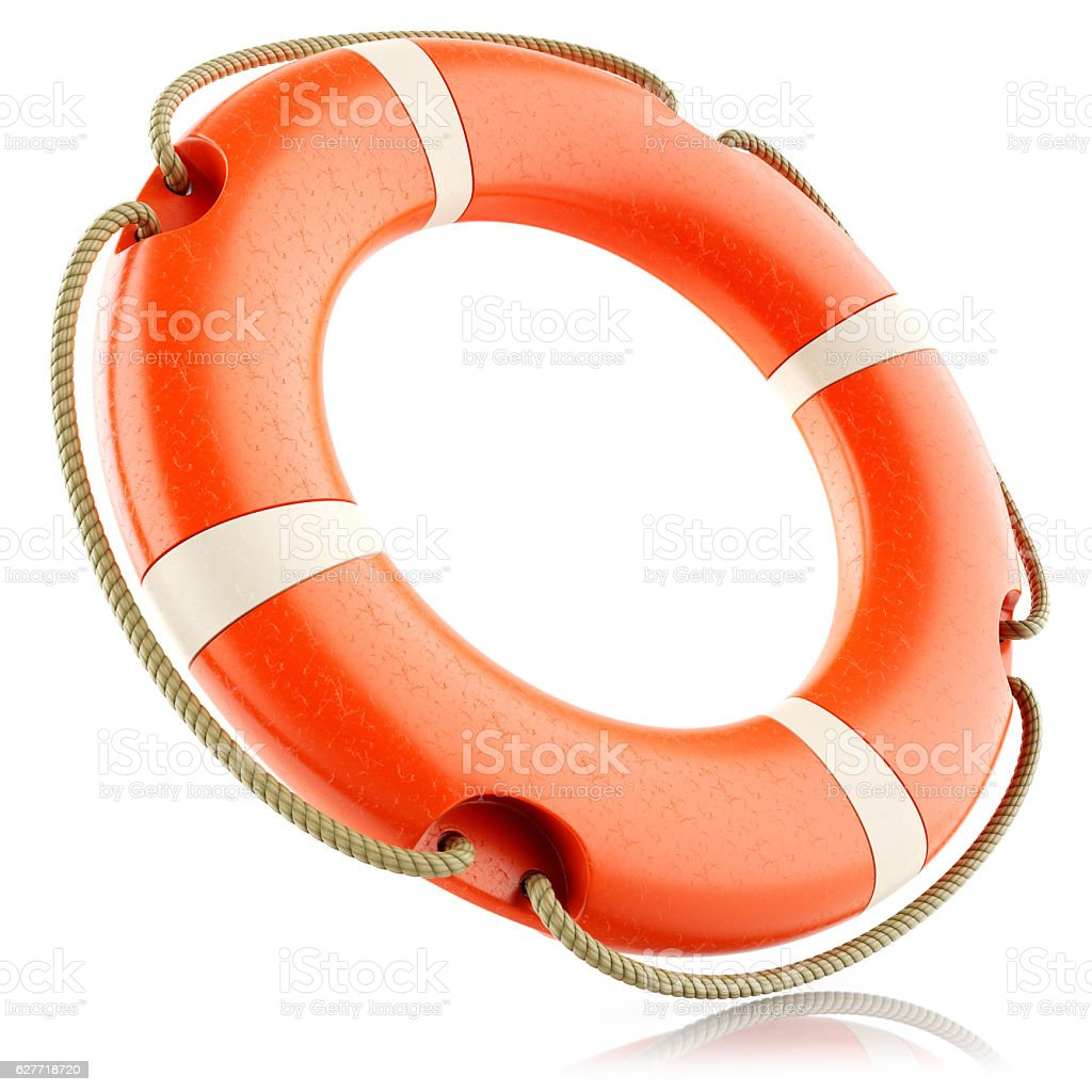 Red lifebuoy ring isolated stock photo