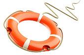 istock Red lifebuoy rope 627719168