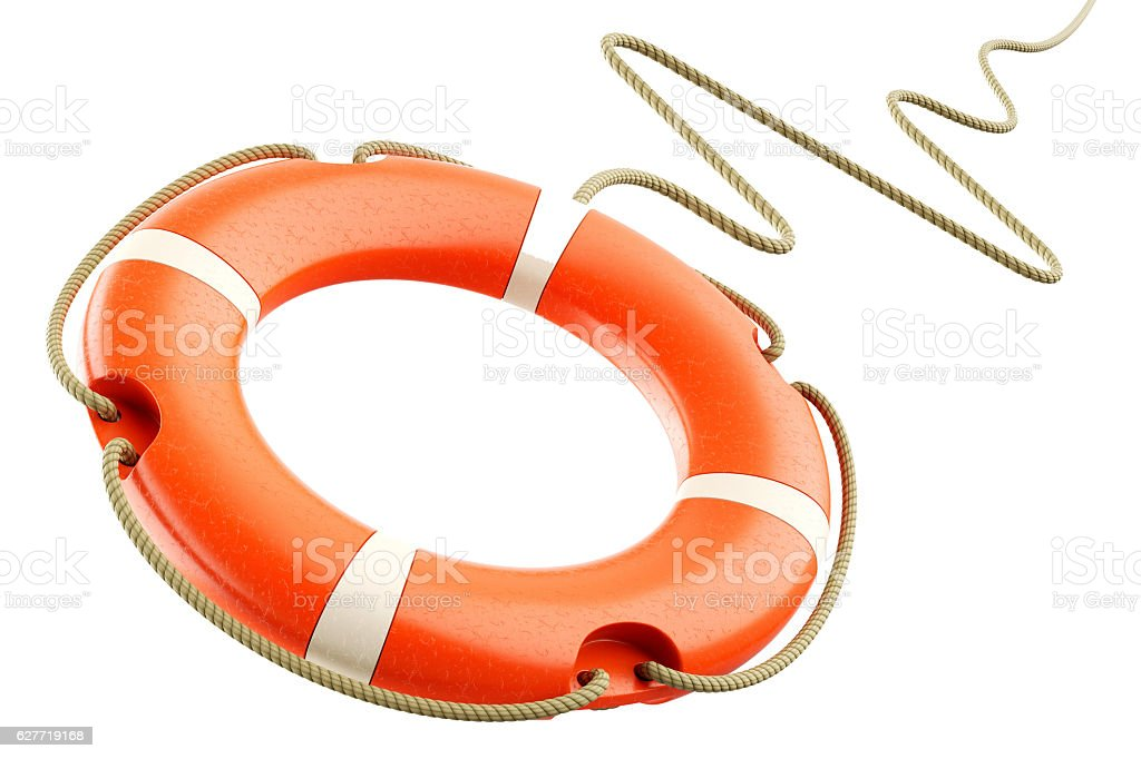 Red lifebuoy rope stock photo