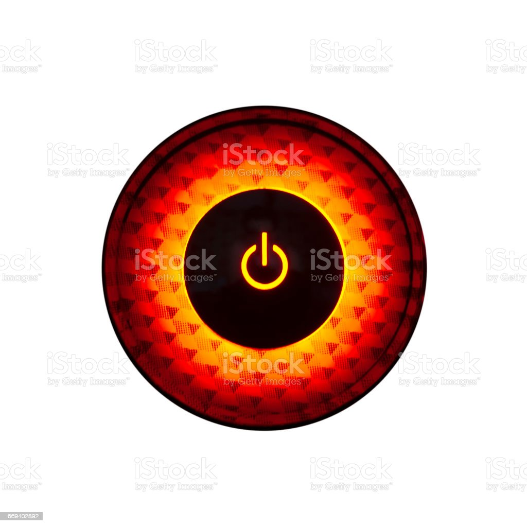 Red Light Circular Power Button Isolated Stock Photo & More