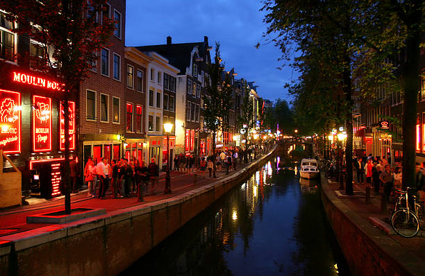 Red Light District at night. stock photo