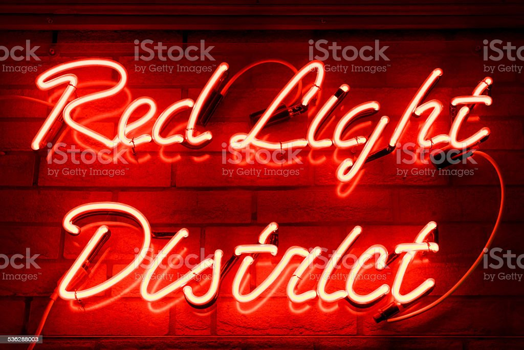 Red Light District neon sign stock photo
