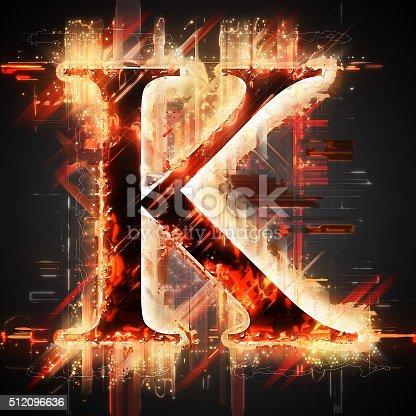 istock Red light letter K 512096636