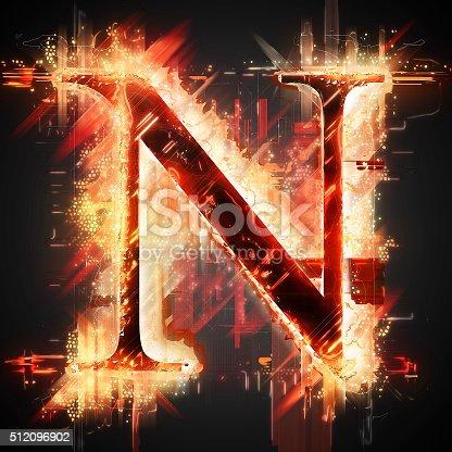 istock Red light letter N 512096902