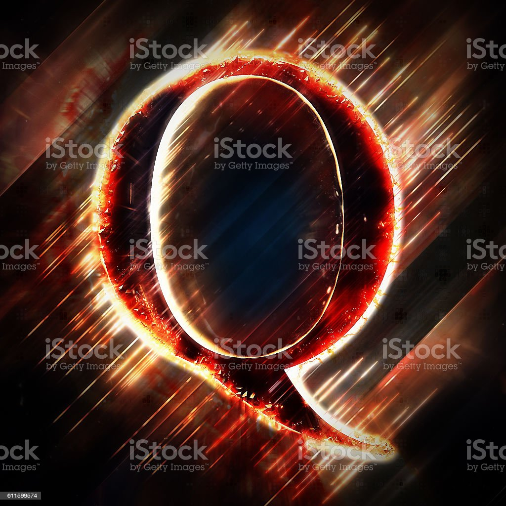 Red light letter Q stock photo