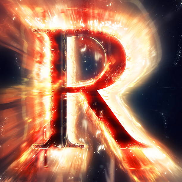 Red light letter R stock photo