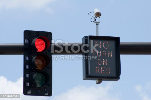 Red traffic light with