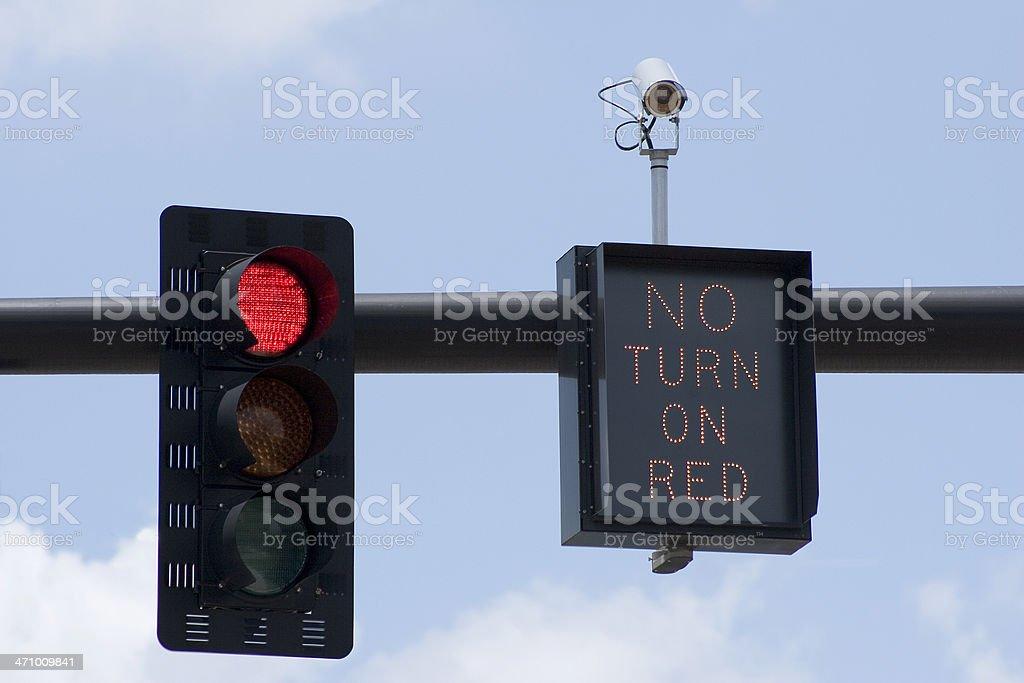 Red Light No Turn stock photo