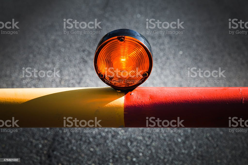 Red light on the automatic barrier stock photo