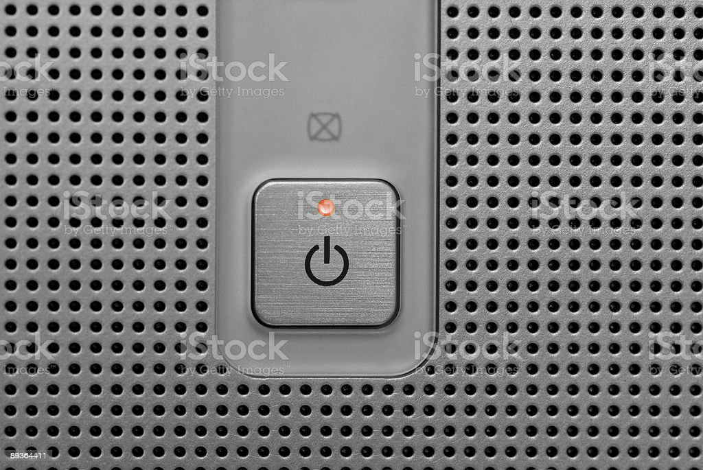 Red light power button in electronic device royalty-free stock photo