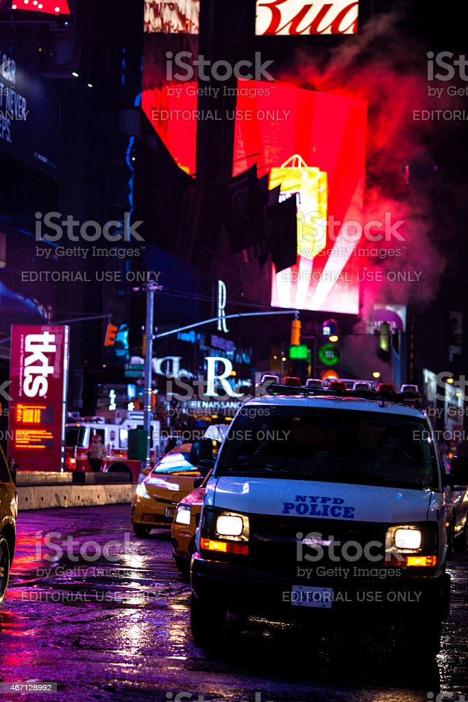 Red light stops traffic in Times Square NYPD stock photo