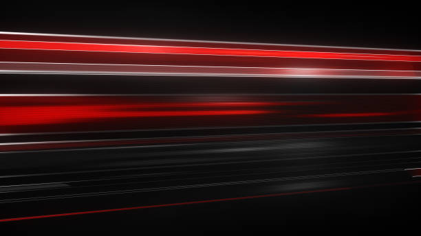 red light streaks abstract futuristic background - striato foto e immagini stock