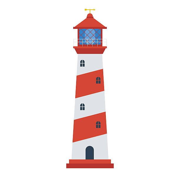 red lighthouse icon - flat design stock photos and pictures