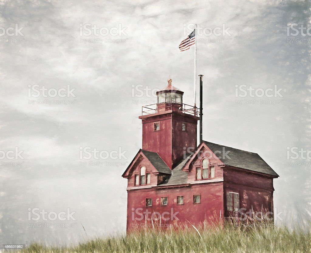 red lighthouse impressionism stock photo