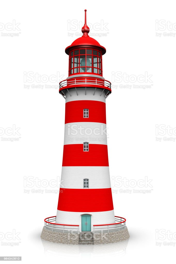 Red lighthouse isolated on white background stock photo