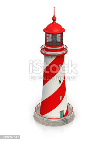 182416027 istock photo Red lighthouse isolated on white 158261817