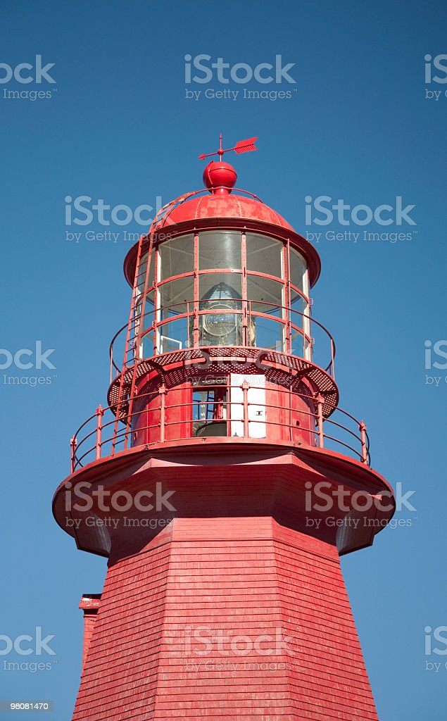 Red lighthouse La Martre and blue sky background royalty-free stock photo