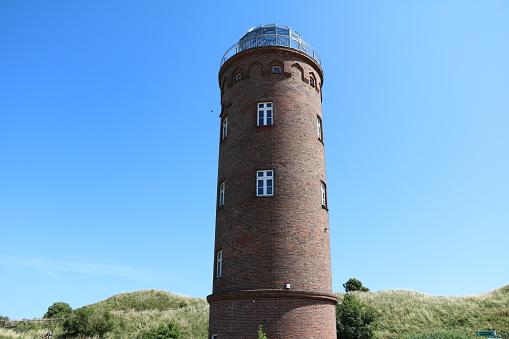 Red Lighthouse Peilturm at Cape Arkona on Island of Rügen, Germany Baltic Sea