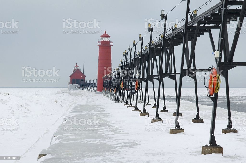 Red Lighthouses in Winter royalty-free stock photo