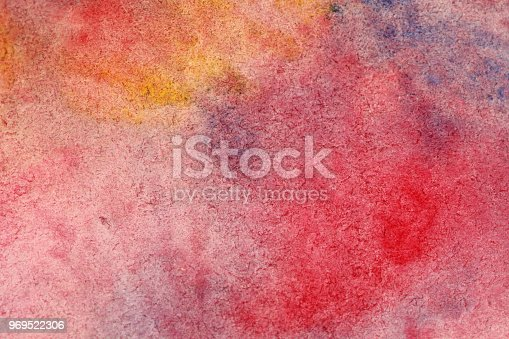 istock Red, lilac and yellow Gradient watercolor background. Paper background. Background for decoration and your design. Watercolor background 969522306