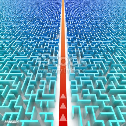 istock A red line cuts across a blue three dimensional maze 186880691