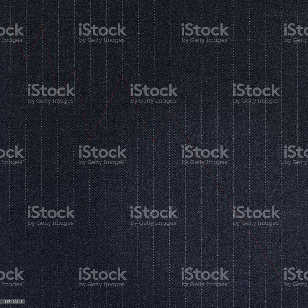 Red Line Graph on Pinstripe stock photo