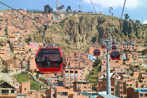 istock Red Line of Mi Teleferico Cable Car Connecting La Paz and El Alto, Bolivia 1147630215