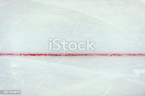 istock Red line on ice hockey ground. Fragment, hockey, concept 1007454676