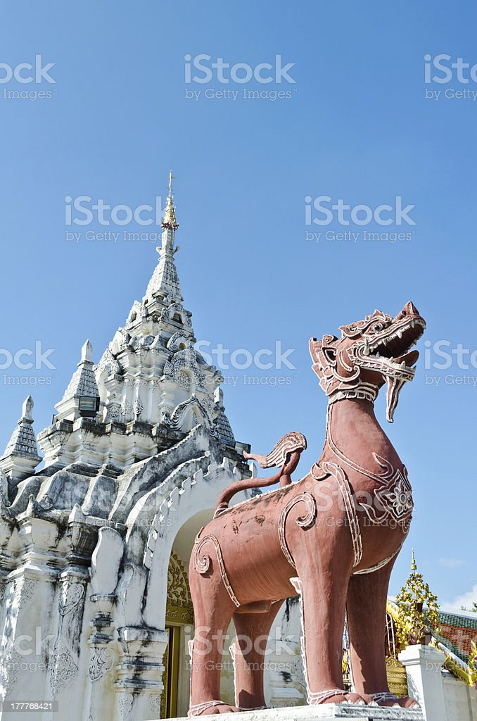 Red Lion statue stock photo