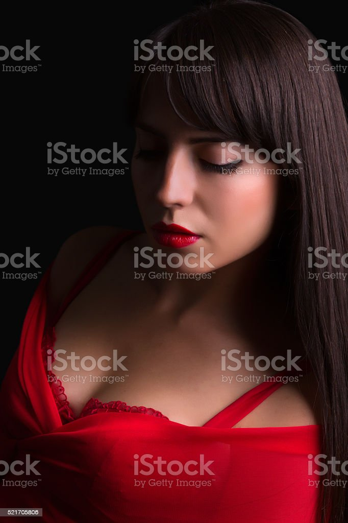 Red lips and cleavage stock photo