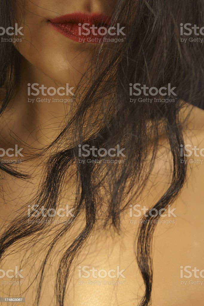 red lips and hair royalty-free stock photo