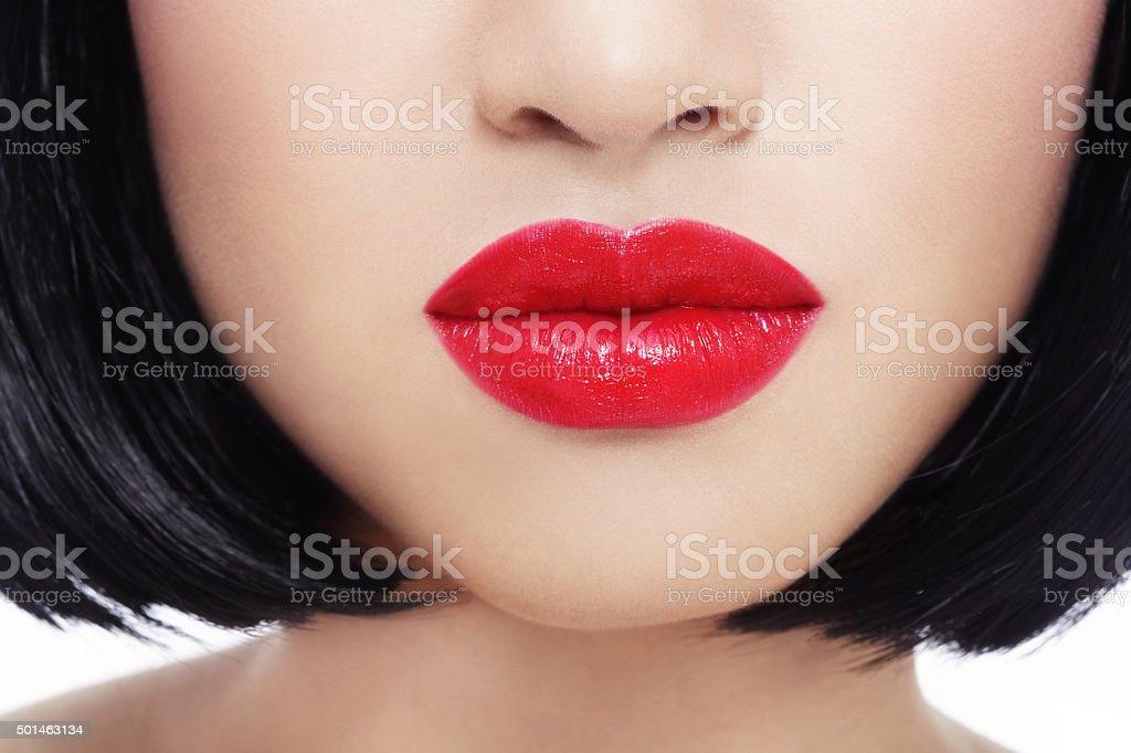 Lábios vermelhos - foto de acervo