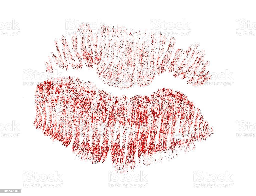 red lips track isolated on white stock photo