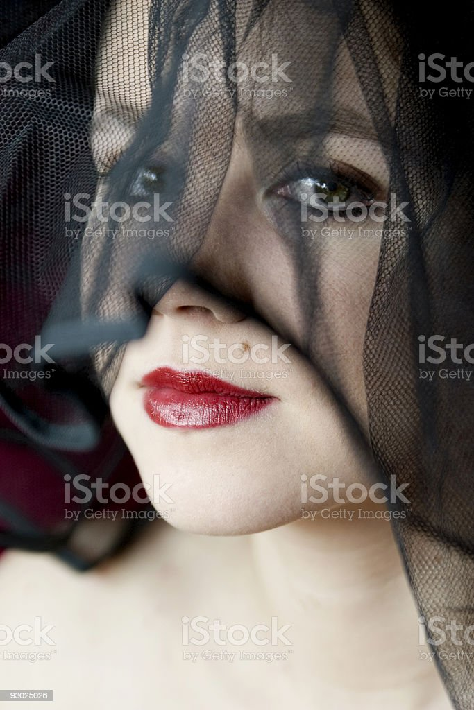 Red lips with sexy mole. stock photo