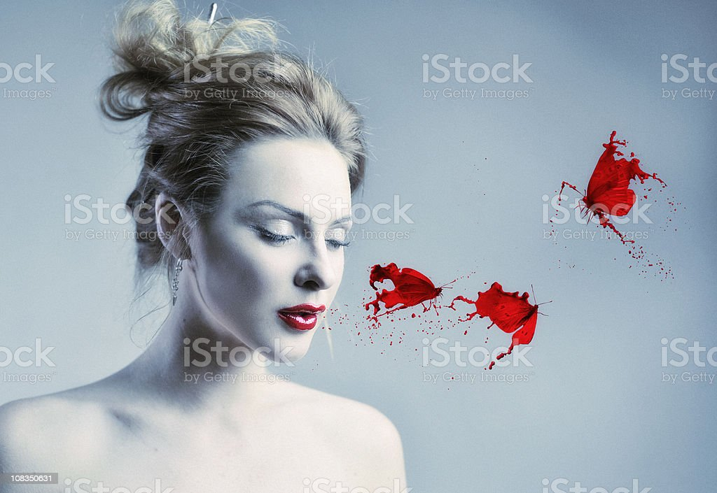 red lipstick butterfly royalty-free stock photo