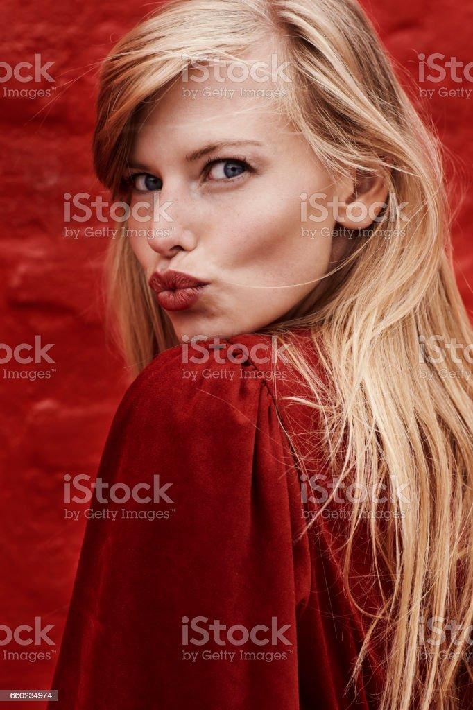 Red lipstick kisses stock photo