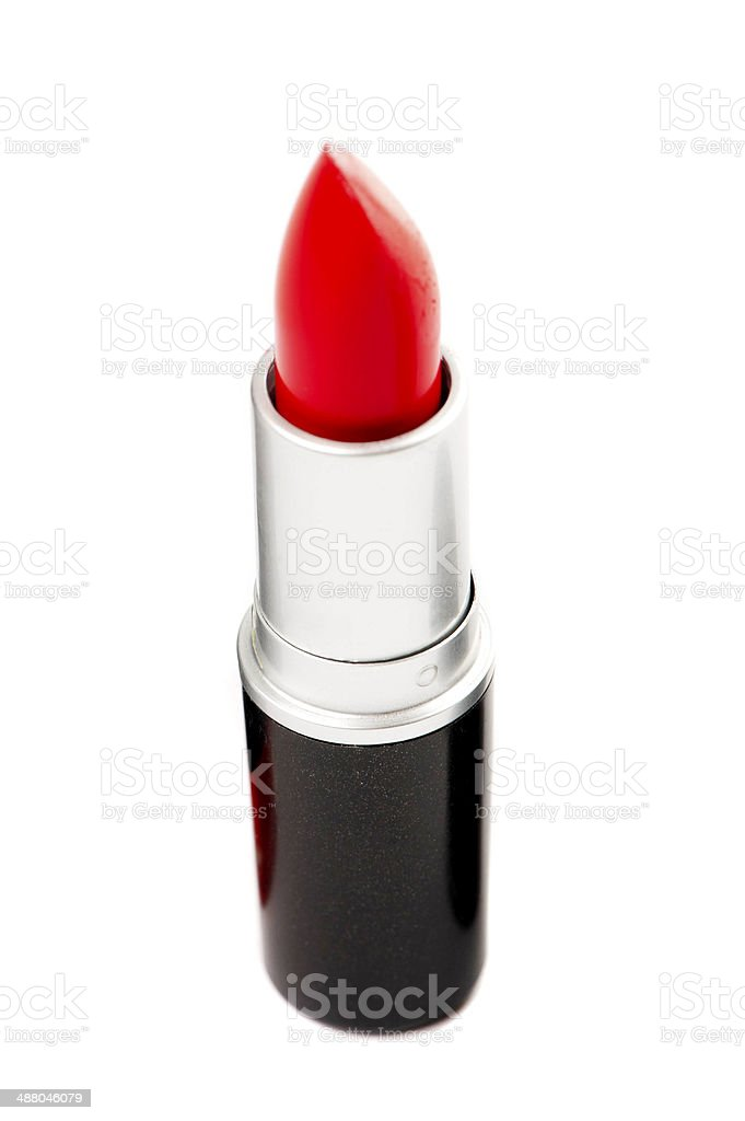 Red lipstick on a white background stock photo